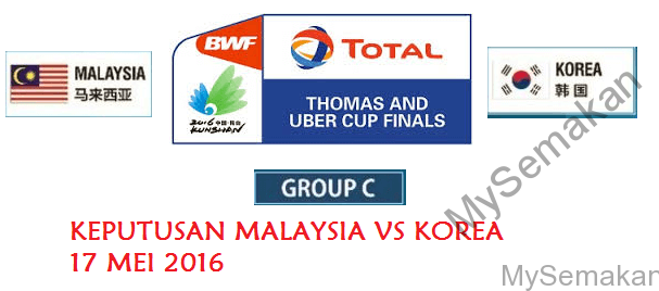 Keputusan Malaysia Vs Korea Piala Thomas 17-5-2016