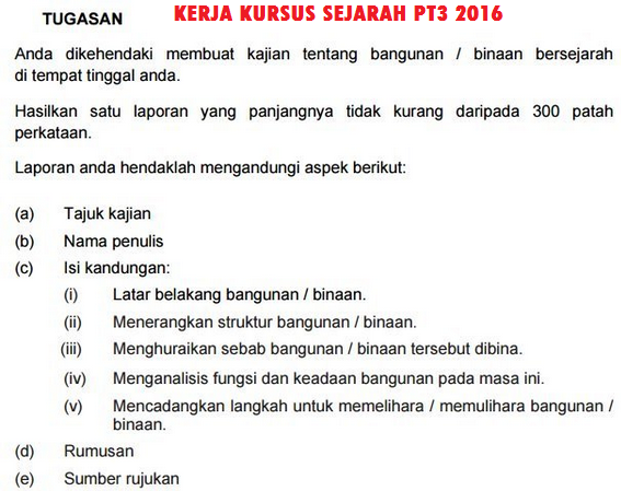 Contoh Rumusan Sejarah PT3 2016